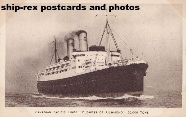 DUCHESS OF RICHMOND (Canadian Pacific) postcard (c1)